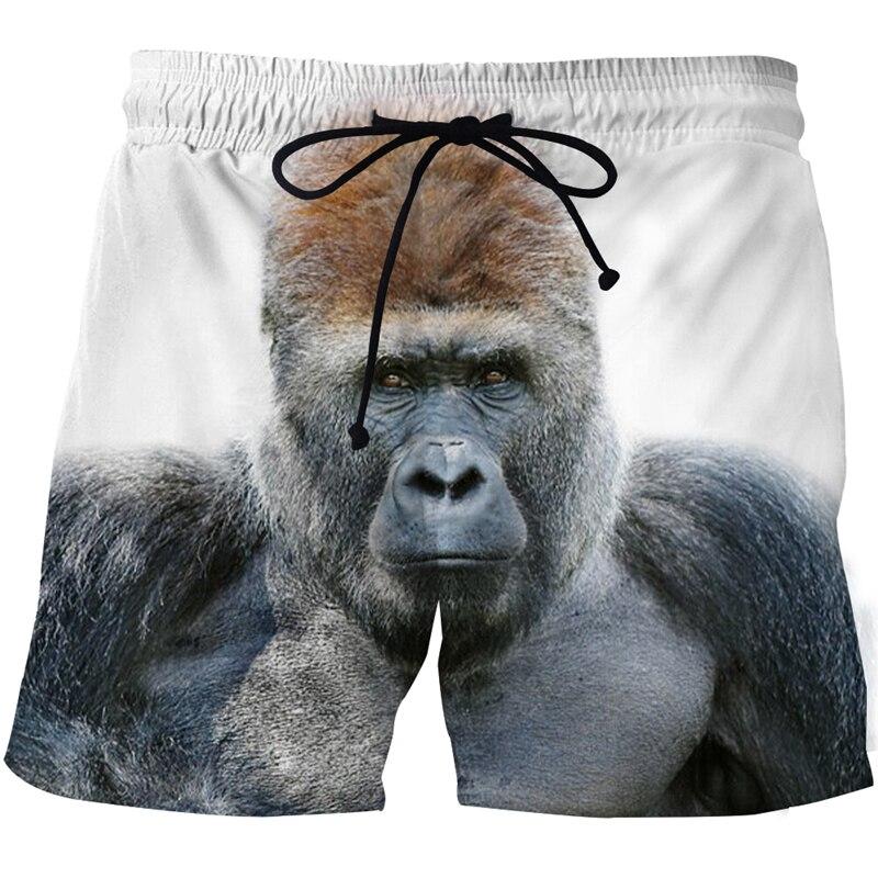 Мужские пляжные шорты с 3D-принтом Gorilla Graphic, быстросохнущие спортивные шорты для плавания, пляжные шорты, лето купальные брюки