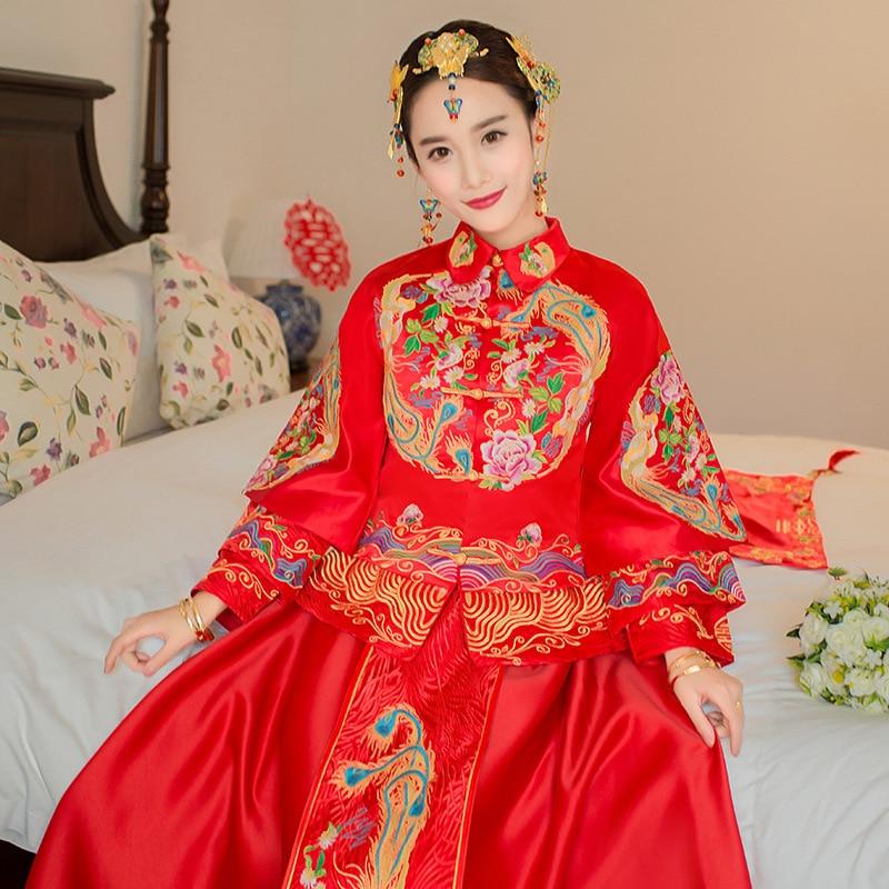 فستان زفاف صيني تقليدي عتيق ، طويل ، أنيق ، شيونغسام ، أنيق