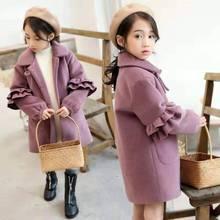 Vêtements dhiver longue et épaisse pour bébés filles   Couleur unie, veste et manteau chauds, pour bébés de 4, 5, 6, 7, 8-10-13 ans, nouvelle collection