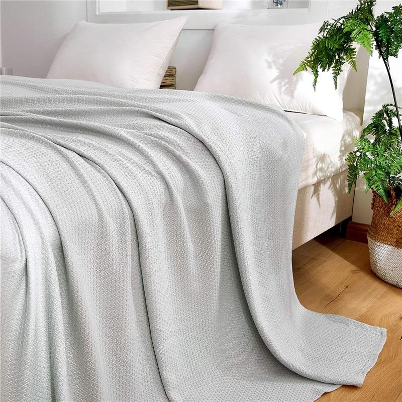 الصيف التبريد الخيزران الألياف بطانية رقيقة تنفس رمي بطانية ل أريكة تتحول لسرير السفر منقوشة تكييف الهواء لحاف الطفل الكبار