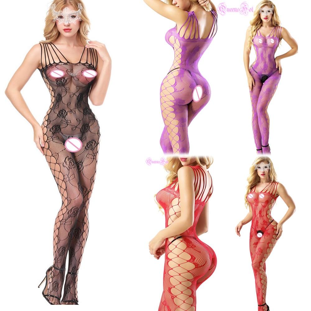Lencería erótica de tiras de red transparente Crotchless Crossover Rosa Body Stocking Hot Lencería sin costuras Crotchless Latex Catsuit muslo alto