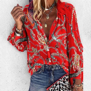 2021 New Design Plus Size Women Blouse V-neck Long Sleeve Chains Print Loose Casual Shirts Womens Tops And Blouses