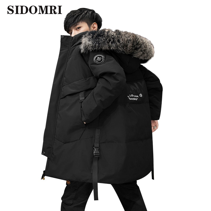 Winter Down jacket men's medium and long hooded coat warm and comfortable thick coat with fur collar