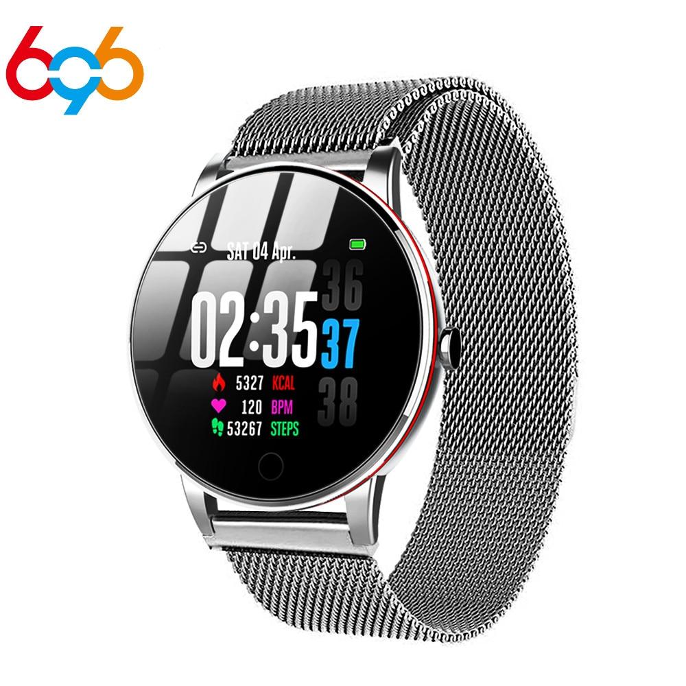 696 Y9 Smart Watch Men Waterproof Slim Metal Body Milanese Strap Replaceable Heart Rate Monitor Blood Pressure Smartwatch Women
