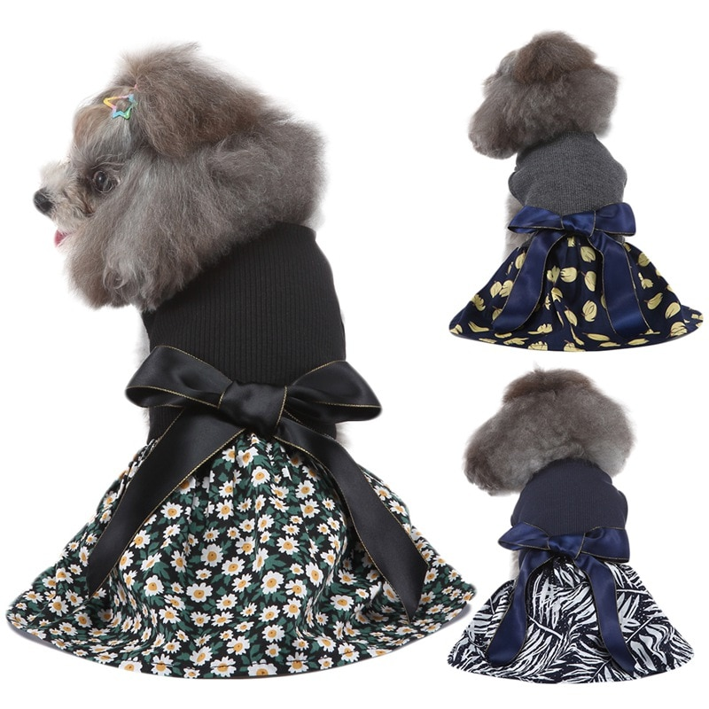 Summer Dog Dress Small Puppy Dark Blue Floral Princess Bow Dress For Dog Skirt Wedding Dresses York Chihuahua Clothes Suppliers