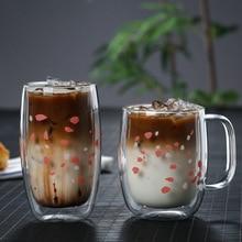 Tasse verre Double avec poignée pour petit déjeuner   Tasse pour jus de lait, tasse de café, tasse de thé à fleurs de bureau, isolation thermique, tasse de célébrité sur Internet AQ277