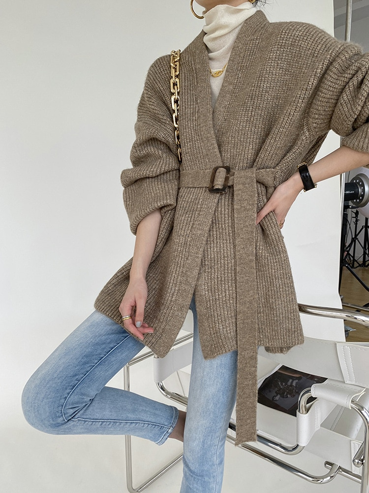 2021 Autumn Women Cardigans Solid Color Knitted V-Neck Open Stitch Tops Long Sleeve Women Sweater Cape enlarge