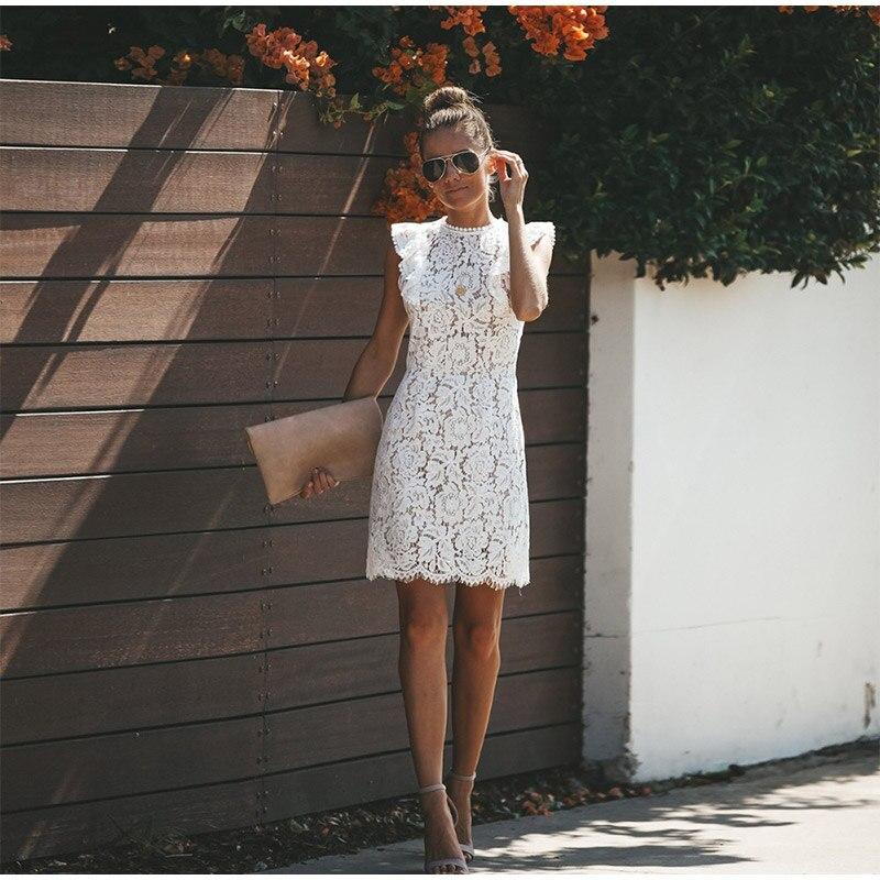 Vestidos de festa noturna para mulheres, vestidos de festa brancos elegantes de 2019, sem mangas, com babados, floral, vintage, sexy, renda oca