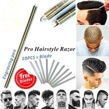 Cortacésped mágico profesional de Dropship, tijeras para el pelo de la barba, lápiz para cejas, tatuaje, Barbero, 10 uds, cuchillas, tijeras para estilizar el cabello