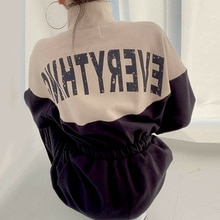 Korean chic autumn casual stand collar contrast color back letter printing drawstring waist closing