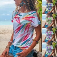 2021 summer fashion womens clothing hot style popular tie dye t shirt short sleeve female striped leaves printing clothes