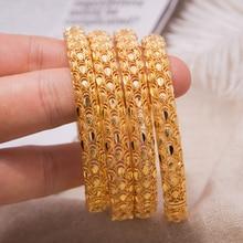 4 قطعة مجوهرات دبي فينيكس زهرة زوجين سوار النحاس الذهب اللون العروس الزفاف أساور للرجال النساء مجوهرات