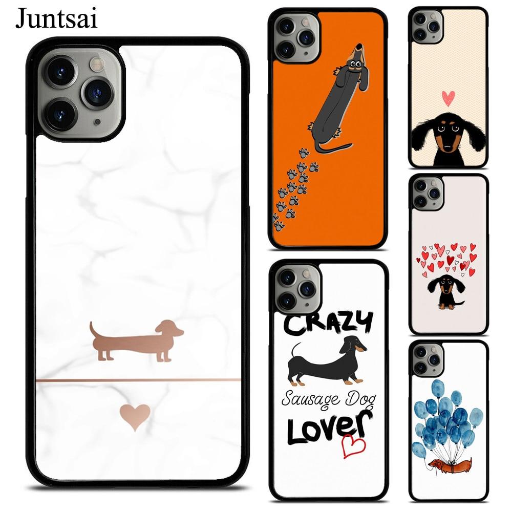 Juntsai Cartoon Dachshund Sausage Dog Phone Case Fundas For iPhone 11 Pro Max 7 7Plus 6S 5S 8 8Plus X XS Max XR