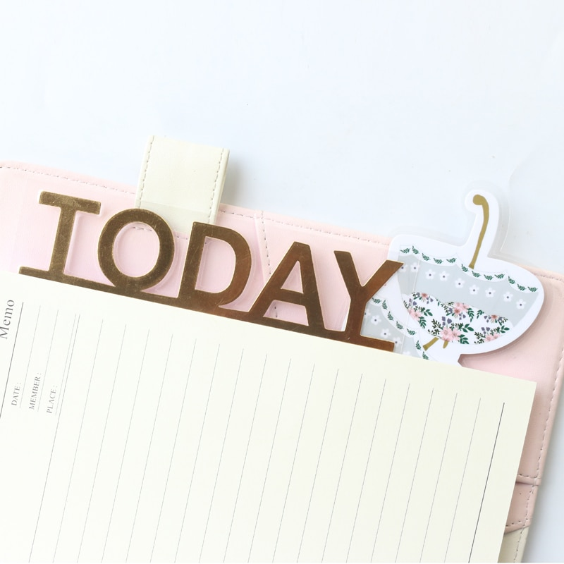 Domikee lindo kawaii hoja de oro patrón de flores Oficina escuela diario planificador índice divisor accesorios papel marcapáginas papelería