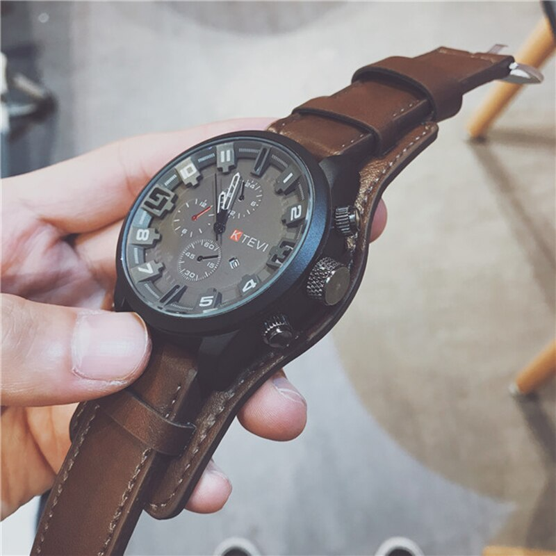 Relojes de cuarzo, relojes de lujo de primera marca para hombre, reloj militar con correa de cuero, reloj de pulsera para hombre, regalo para reloj Masculino