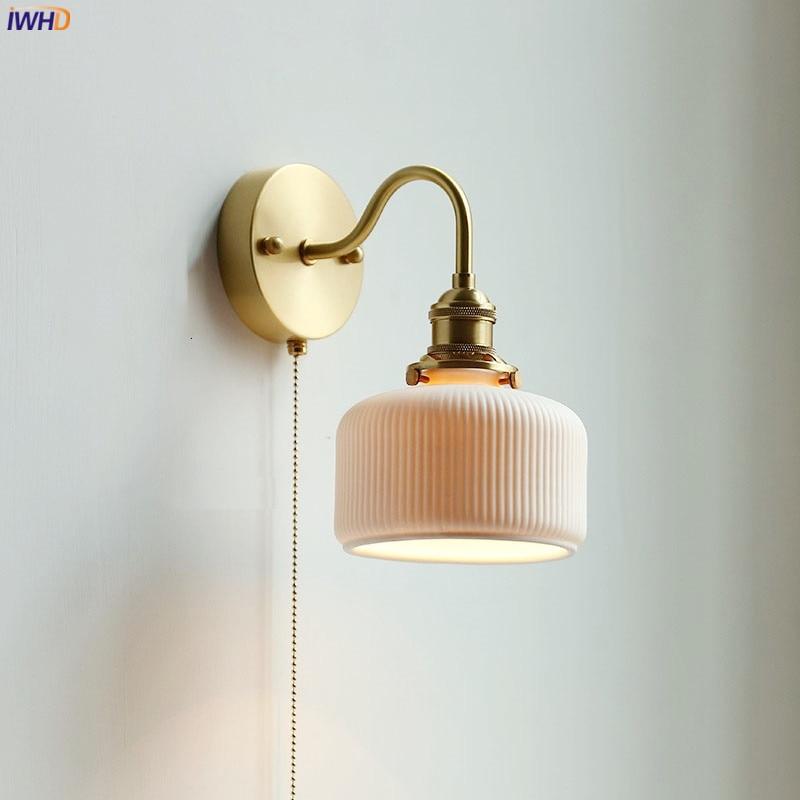 IWHD السيراميك الشمال الحديثة الجدار مصباح بجانب سحب الصين التبديل مرآة حمام أضواء لدرجات السلم النحاس وحدة إضاءة LED جداريّة الشمعدان lumaria