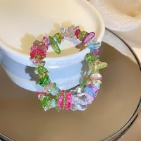 minar bohemian cute rainbow irregular stones charm bracelet for women colorful elastic bracelets 2021 summer beach accessories