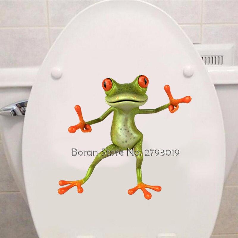 3D забавная наклейка в виде лягушки для туалета, Модная современная настенная наклейка, современные зеленые наклейки в виде лягушки, Виниловая наклейка для туалета, домашний декор