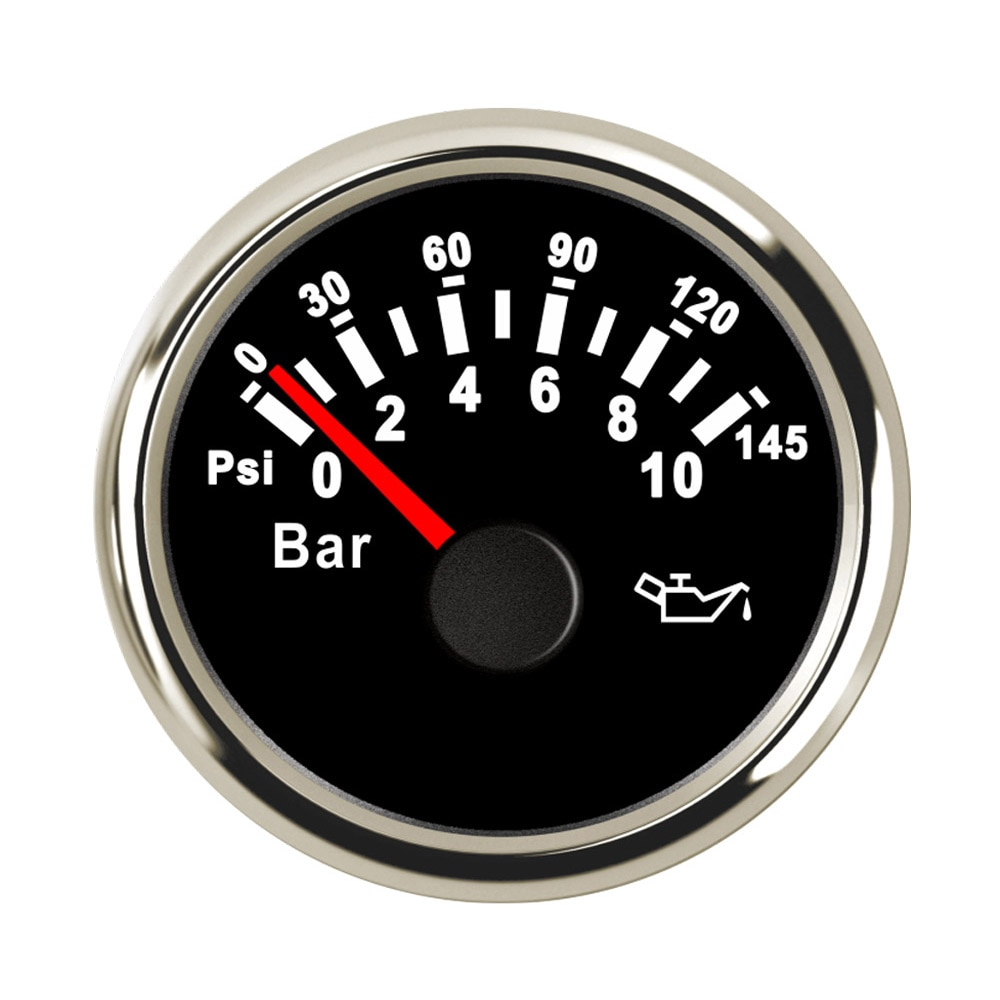 52 mm Boot Auto Öl Manometer 5 Bar / 10 Bar Kraftstoff Druck Meter fit für Ausgang Signal 10 ~ 184 ohm Sensor