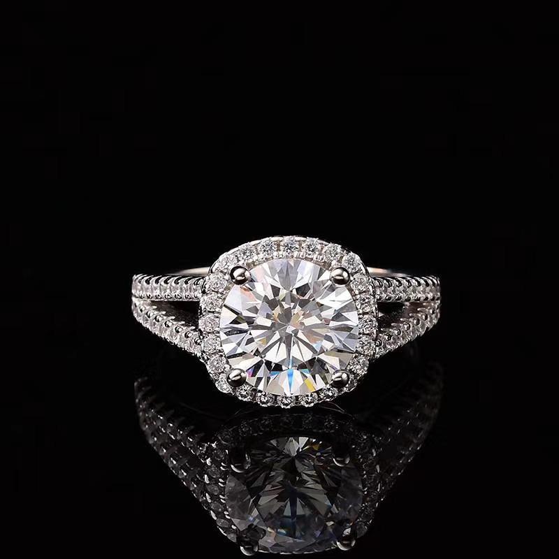 Silver ring sterling 925 real moissanite2.00ct D VVS GRA sterling silver rings wedding rings