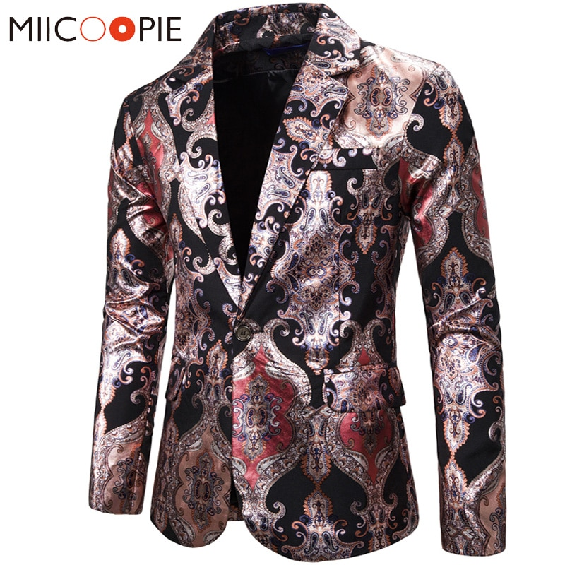 Paisley Floral Printed Suit Blazer Hombre 2019 Brand Causal Palace Royal Style Slim Fit Single Butto