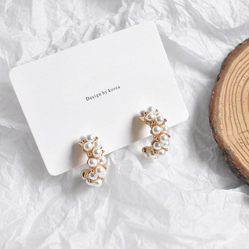MENGJIQIAO-Pendientes de aro con perlas de imitación para mujer, aretes, círculo, estilo...