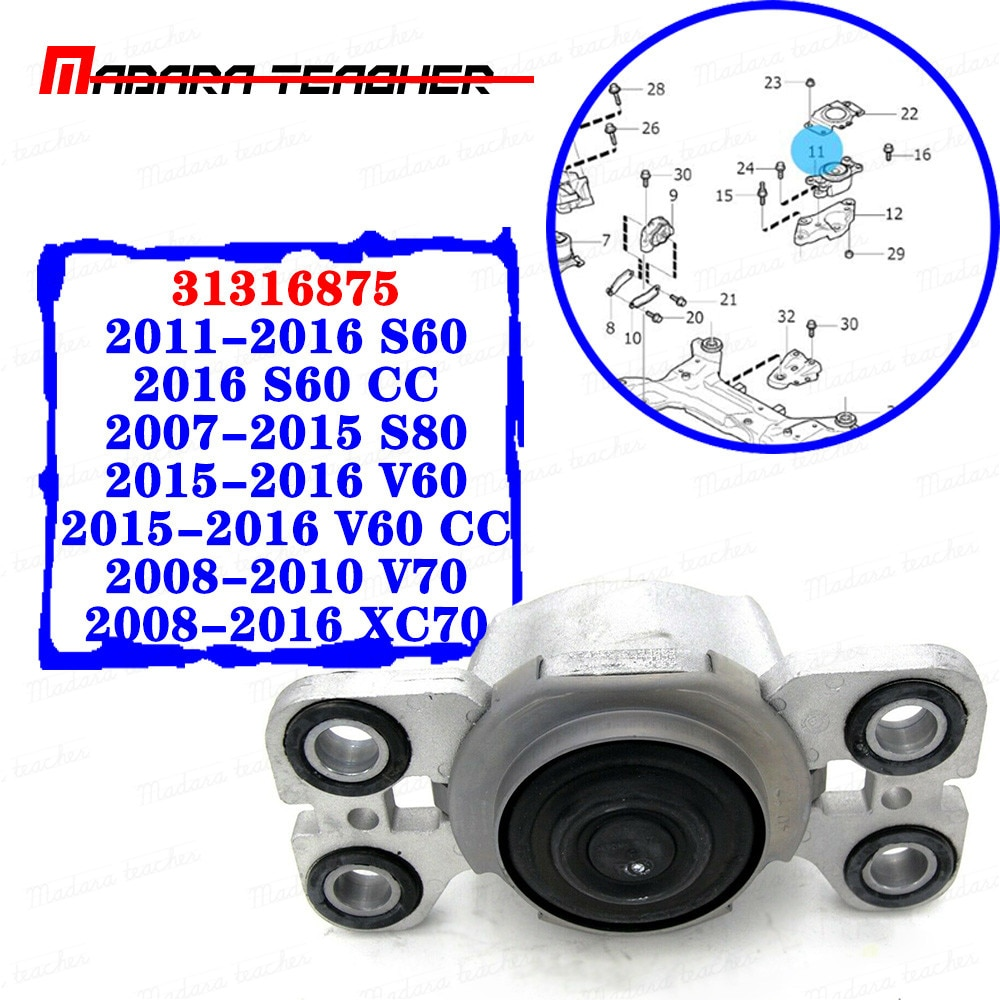 Izquierda conductor del Motor de montaje frontal Lemforder Pro para Volvo S80 S60 V70 V60 XC70 31316875, 3576101, 2011, 2012, 2013, 2014