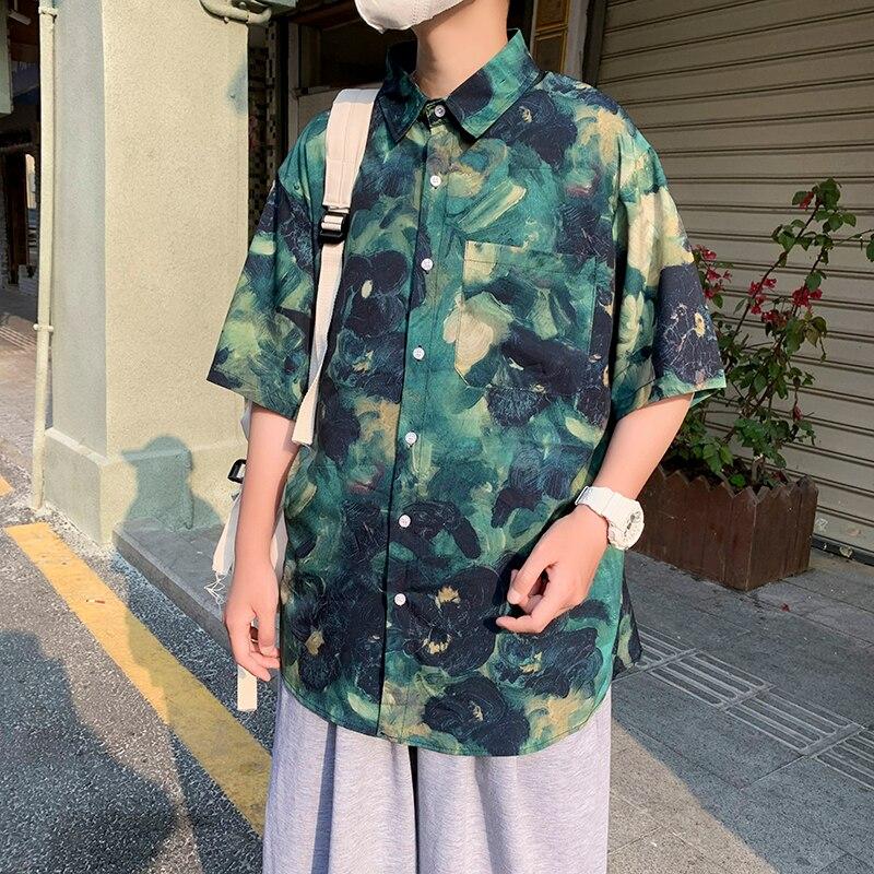 Summer Ice Silk Printed Shirt Men's Korean Fashion Loose Casual Shirt Men's Harajuku Streetwear Short-sleeved Shirt Men M-2XL