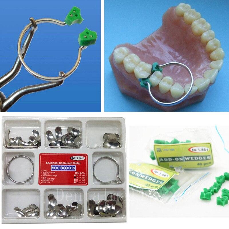 Новинка 100 шт./компл. зубные секционные Контурные матрицы матричное кольцо Delta + 40 шт.