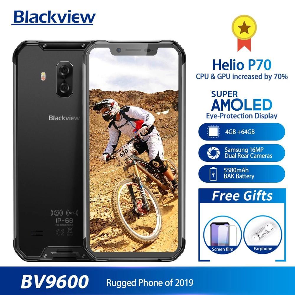 Оригинальный Blackview BV9600 IP68 Водонепроницаемый мобильный телефон на процессоре Helio P70 Android 9,0 4 Гб + 64 Гб 6,21 дюйм AMOLED 5580 мАч NFC Смартфон повышенной проч...