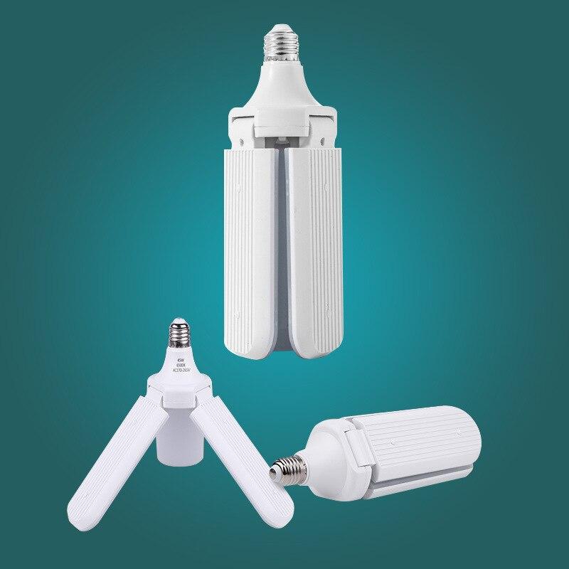 E27 LED Bulb Fan Blade Timing Lamp AC85-265V 28W 45W 50W 60W 80W 100W  Foldable Led Light Lampada For Home Ceiling