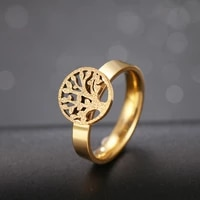cacana tree of life rings for women stainless steel matte rings pattern finger rings girl luxury party wedding rings jewelry r5
