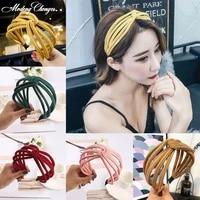 new spring summer fashion wide hairwear womens temperament hairband simple style knot headband hair accessories turban headwear