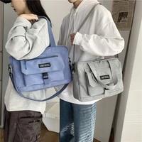 korean fashion handbags for women large capacity student shoulder school bag sports leisure style womens bag simple canvas bag