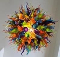 luxury multicolored hand blown glass chandeliers art ball round chain chandelier light fixture