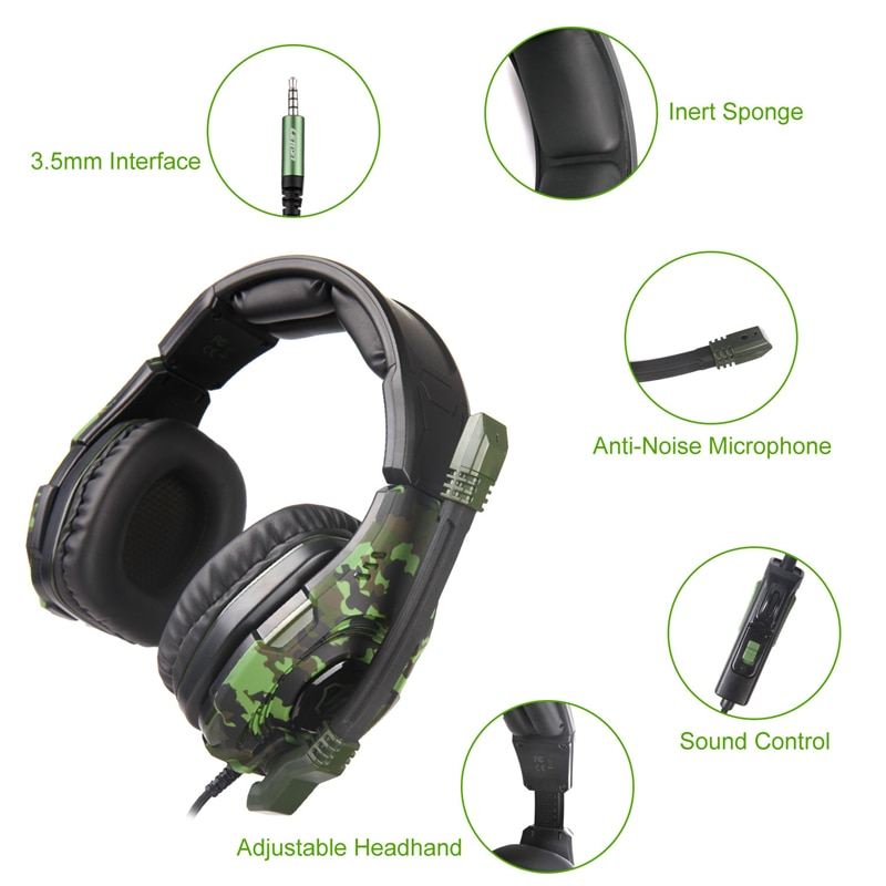 LETTON L2 High Quality Camouflage Green Gaming headphones Wired Headsets For Gammer PC Smartphones Xbox One enlarge