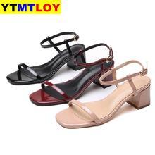 Sandales à talons hauts et pointes pour femmes, chaussures de fête élégantes avec lanière à cheville, talon carré, été, collection décontracté