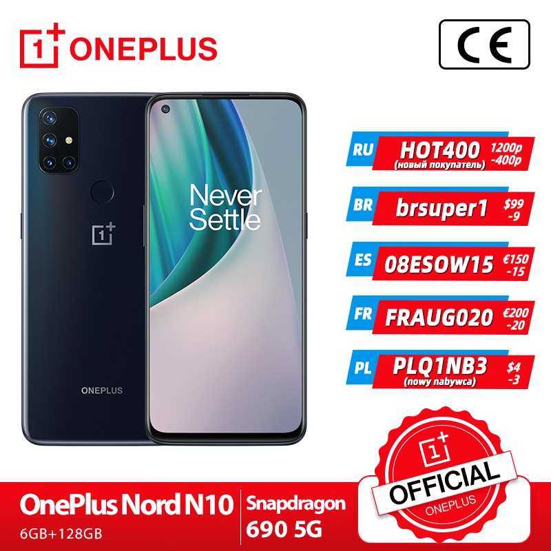OnePlus Nord N10 5G Global Version 6GB 128GB Snapdragon 690 Smartphone 90Hz Display 64MP Quad Cameras OnePlus Official Store