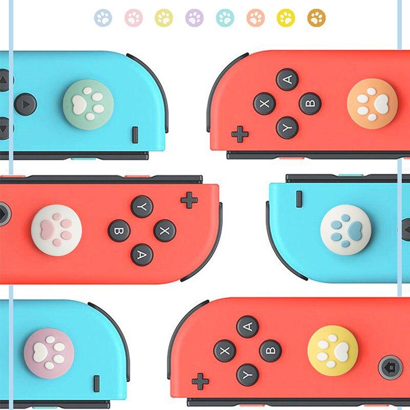 Cubierta de silicona Con tapa para el pulgar Con interruptor NS Joy-Con tapa de balancín gato garra antideslizante ThumbSticks Joystick funda protectora para Nintendo