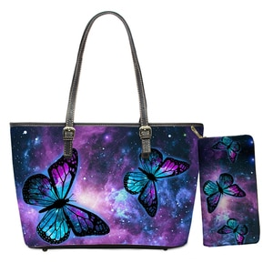 Starry Night Butterflies PU Handbags Fashion Women Large Capacity Travel Shoulder Bags Office Ladies Leisure Totes