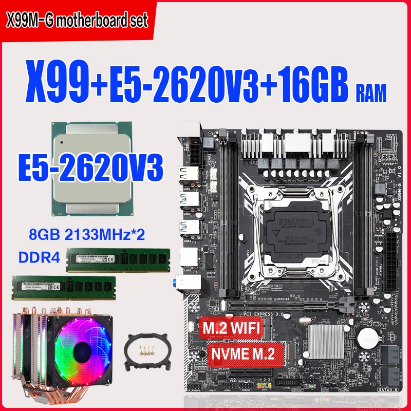 x99-motherboard-set-with-xeon-e5-2620-v3-lga2011-3-cpu-2pcs-x-8gb-16gb-2133mhz-ddr4-memory-nvme-m-2-slot-six-copper-tube-cooler