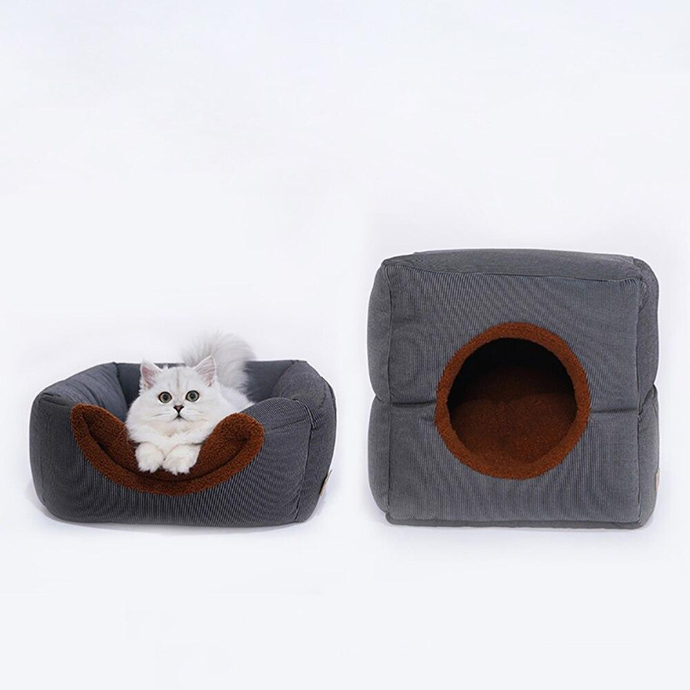 روبيك مكعب شكل القط كهف السرير العميق النوم جرو بيت قصيرة أفخم منزل للقطط طوي الدافئة الكلاب حصيرة الحيوانات الأليفة الملحقات