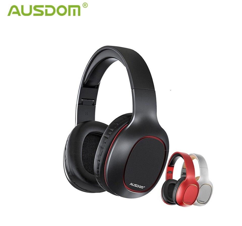 Ausdom-fones de ouvido sem fio, bluetooth 5.0, estéreo, com microfone, entrada para cartão tf
