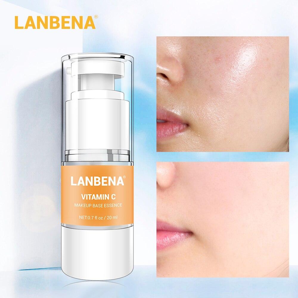 Lanbena base de maquiagem essência vc clarear rosto primer fundação profissional soro facial cuidados com a pele encolher poros refina tez