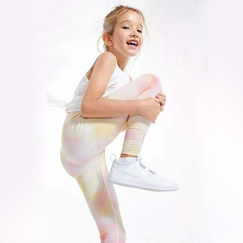 Girls Active Legging Athletic Dance Workout Running Yoga Pants Kids Sport Activewear Children High Waist Tights for Gymnastic