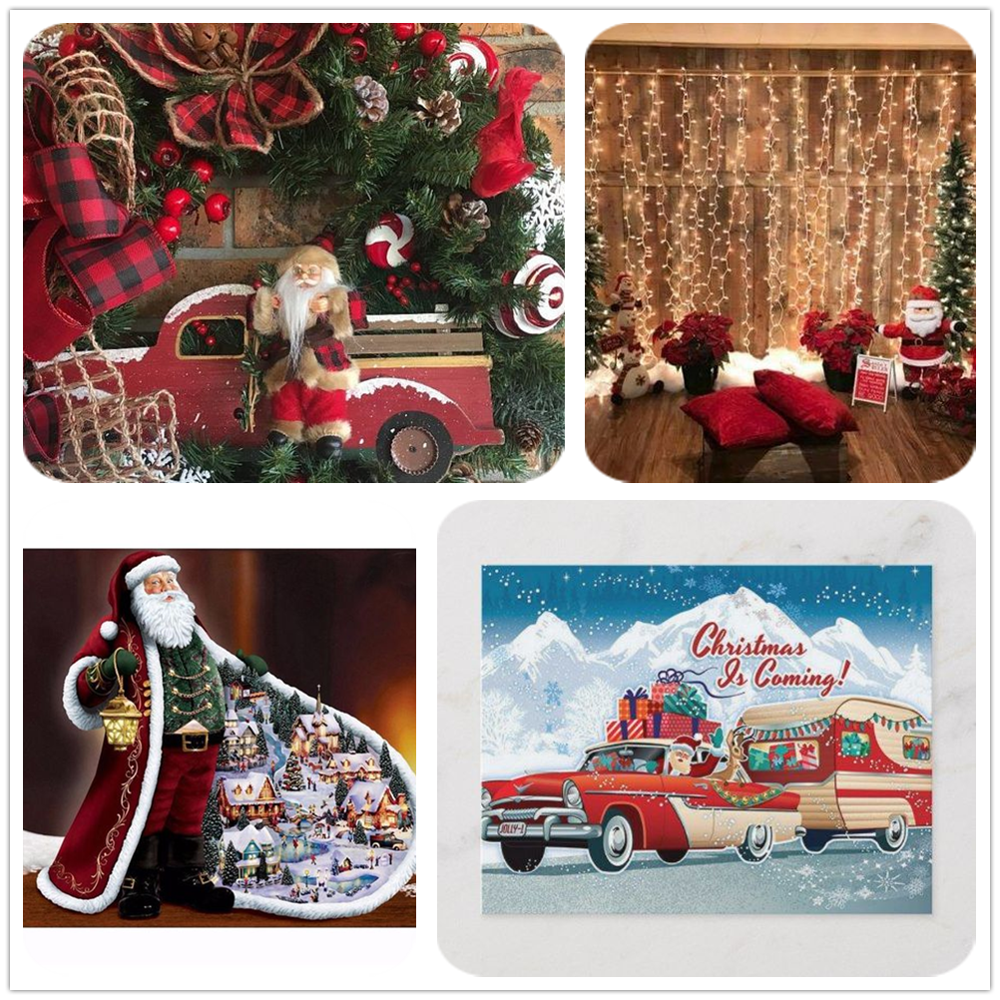 Full Drill 5D Diy Diamond Painting Truck Christmas Cartoon Diamond Embroidery Snow Scene Santa Claus Home Decoration Gifts Lx720