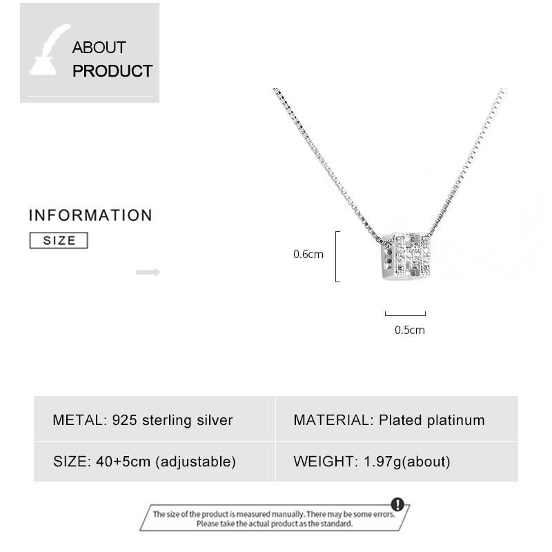 Simple Cubic Zirconia Letter H Necklaces Love Cube Square Pendants 925 Sterling Silver Fashion Jewelry for Women Short Chain New