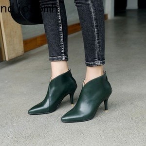 Ankle Boots The New Autumn and Winter Fashion Pointed Comfortable Fine Heel High Heel Short Tube Women's Shoes Size 32-48 Black