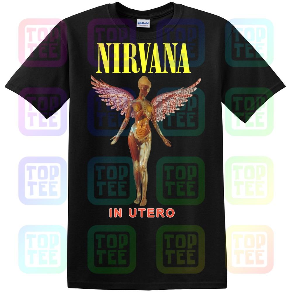 Nirvana In Utero Preshrunk T-shirt Banda de Rock T Gráfico Preto NWT