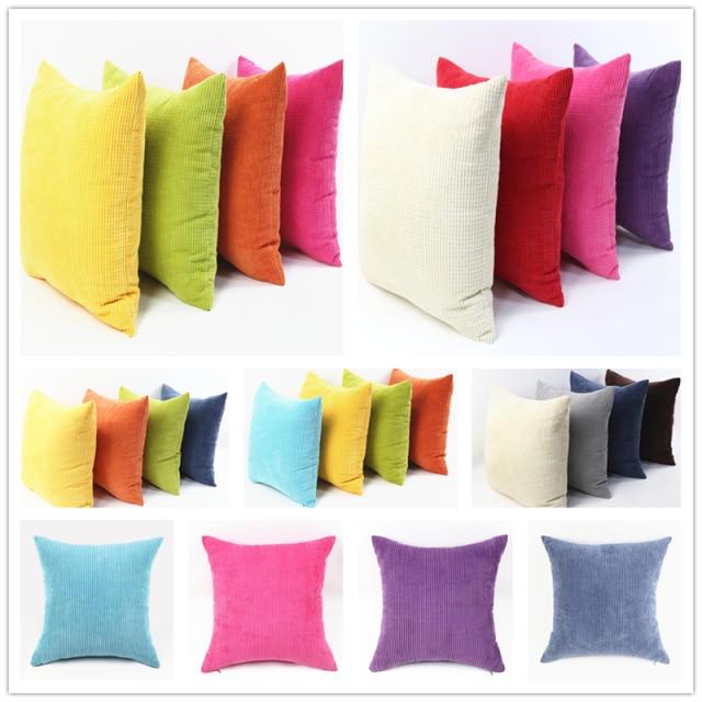 Nordic Plaid Cushion Cover Soft Stripe Velvet Color Solid Throw Pillow Case For Sofa Home Decor Car Custom 30/35/40/45/50/60cm